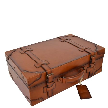 Real Leather Vintage Trunk Bedford Tan