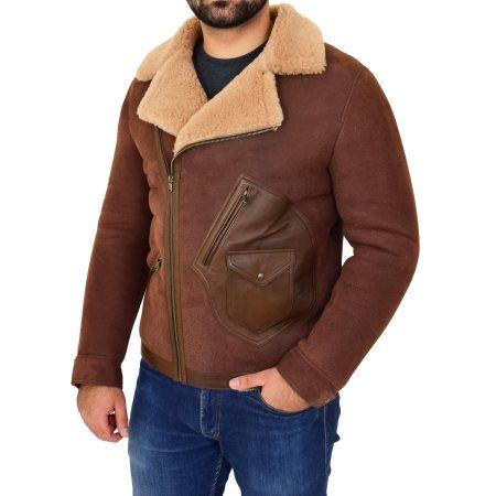 Men's Sheepskin Aviator Jacket Cross Zip Jacket