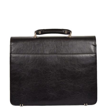 Leather Lockable Messenger Bag Black