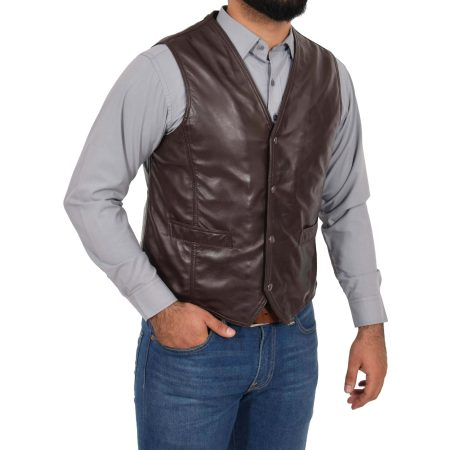 Mens Leather Traditional Waistcoat Petrelli Brown