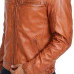 Men's Biker Standing Collar Tan Jacket
