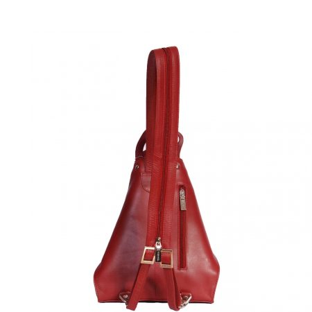 Small Travel Leather Backpack HOL259 Red