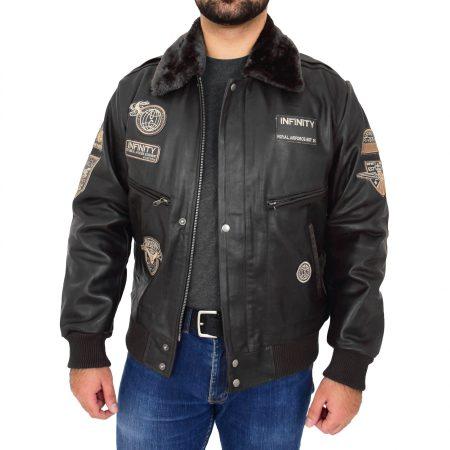 Men's Leather Bomber Pilot Jacket Black