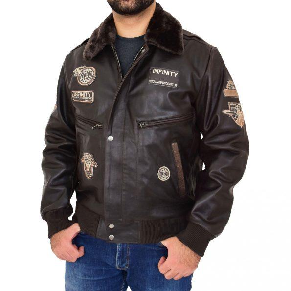 Men's Leather Bomber Pilot Jacket