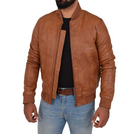Men's Leather MA-1 Bomber Jacket Ryan Tan