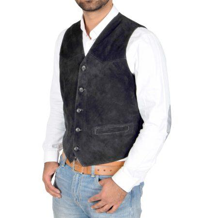Men's Suede Button Fastening Waistcoat
