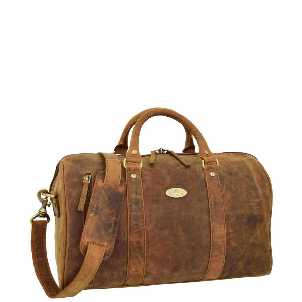 Leather Holdall Small Size Barrel Shape Duffle Bag Athens Tan