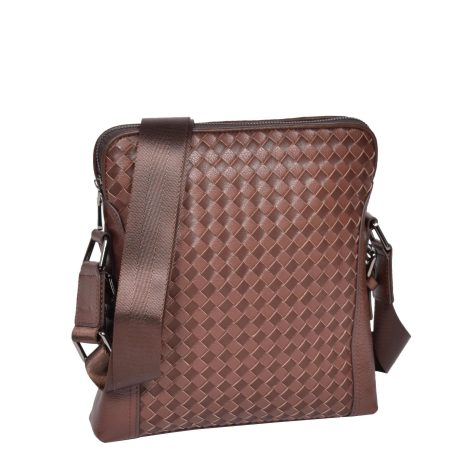 Braided Design Leather Flight Bag Brown