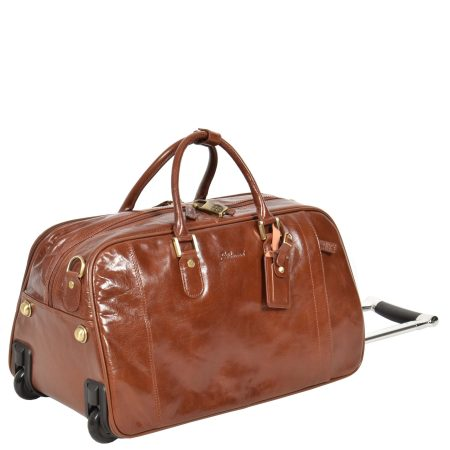 Leather Wheeled Holdall Chestnut tan