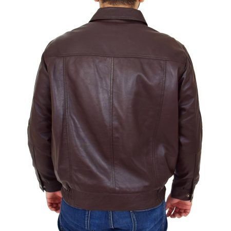 Mens Bomber Leather Jacket Classic Style Jim Brown Nappa