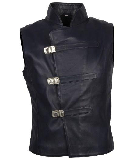 Black Men Designer Motorcyle Leather Vest
