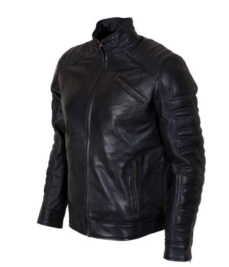 Black Padded Cafe Racer Biker Leather Jacket