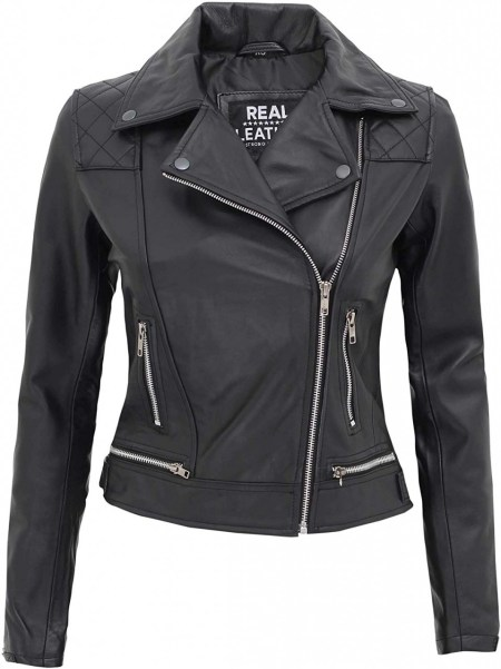 Asti Womens Quilted Asymmetrical Black Leather Jacket