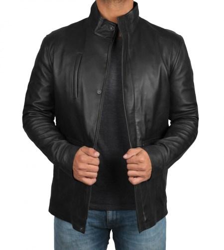 Richards Mens Upright Collar Black Lambskin Leather Jacket
