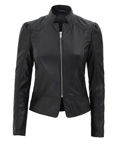 California Womens Black Stylish Leather Jacket