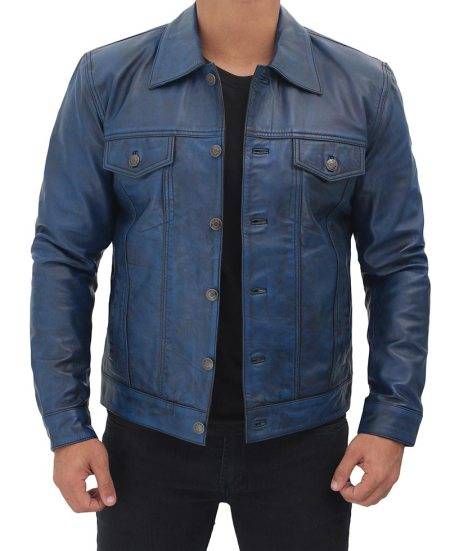 Mens Blue Leather Trucker Jacket