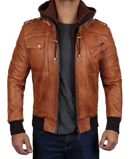 Edinburgh Mens Brown Leather Bomber Jacket With Hood