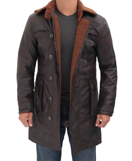 Brown Leather Shearling Coat Mens