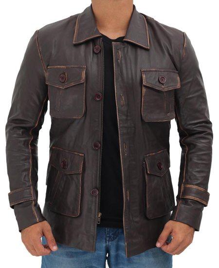 Distressed Dark Brown Leather Jacket