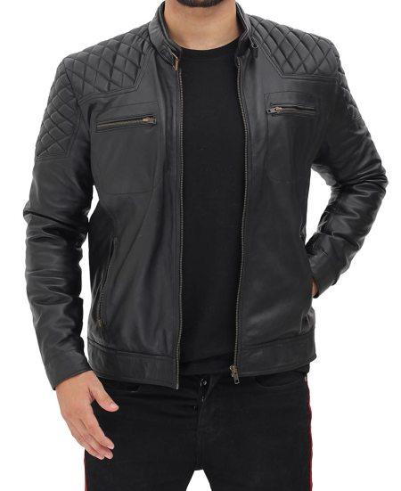 Massa Mens Quilted Shoulder Snap Collar Black Leather Cafe Racer Jacket
