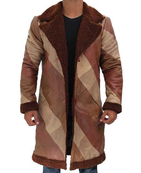 Light Brown Real Leather Mens Long Shearling Coat
