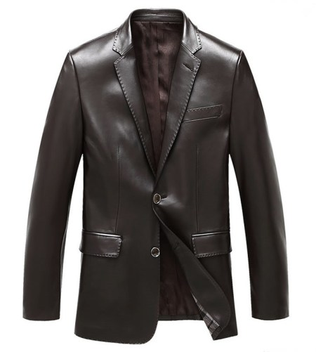 Mens Brown Notch Lapel Two Button Leather Blazer Jacket