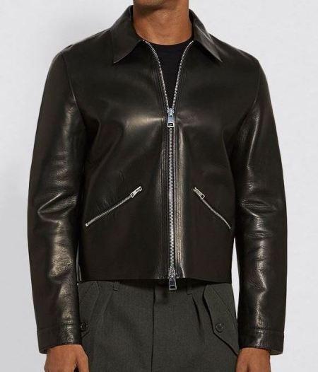 Mens Real Black Leather Jacket