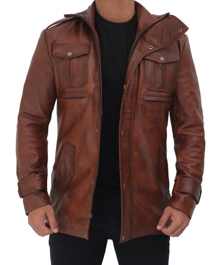Giltner Brown 3 4 Length Leather Coat Mens
