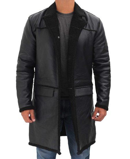 Rockville Mens 3/4 Length Black Winter Shearling Leather Coat
