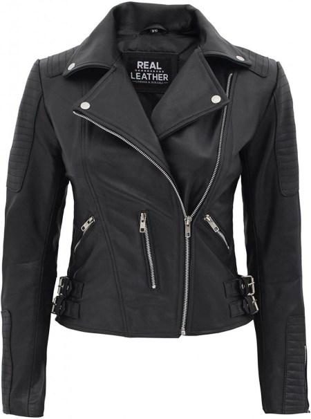 Bari Womens Biker Asymmetrical Black Leather Jacket