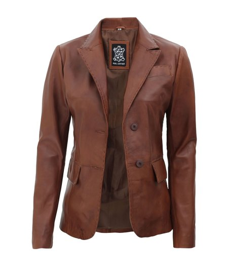 Brown Notch Lapel Two Button Womens Leather Blazer Jacket