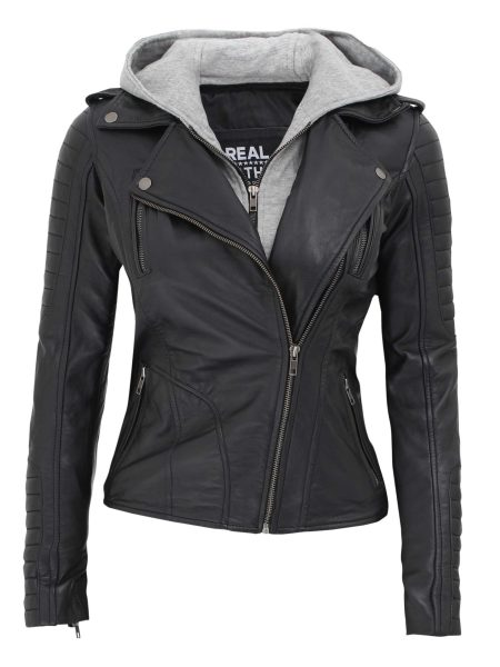 Bagheria Biker Black Hooded Leather Jacket for Women