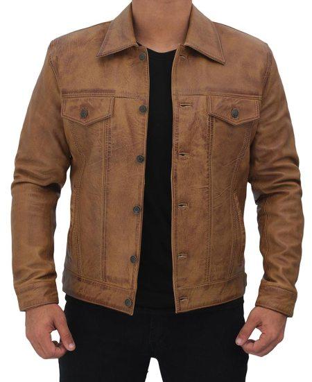 Mens Tan Trucker Leather Jacket