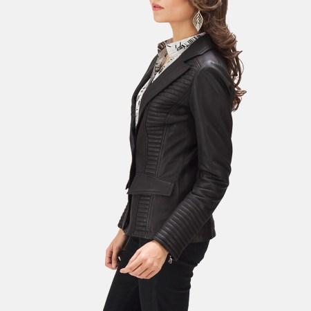 Selina Black Leather Blazer