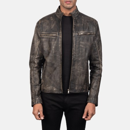 Ionic Distressed Brown Leather Biker Jacket