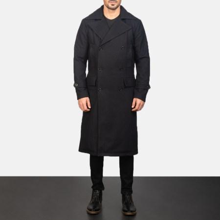 Detective Black Wool Coat