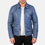 Lavendard Blue Leather Biker Jacket