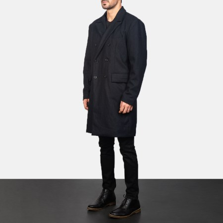Claud Black Wool Double Breasted Coat