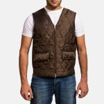 Hybridge Quilted Brown Vest