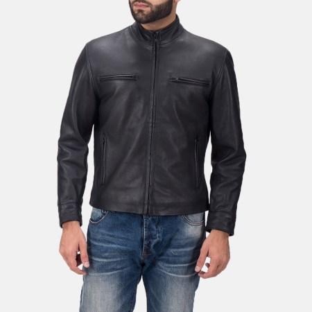 Austere Matte Black Leather Biker Jacket