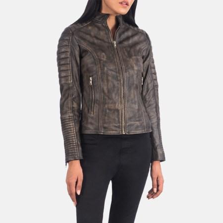 Adalyn Quilted Distressed Brown Leather Biker Jacket