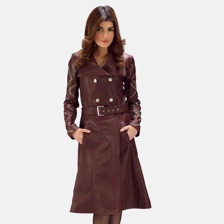 Missoni Maroon Leather Trench Coat