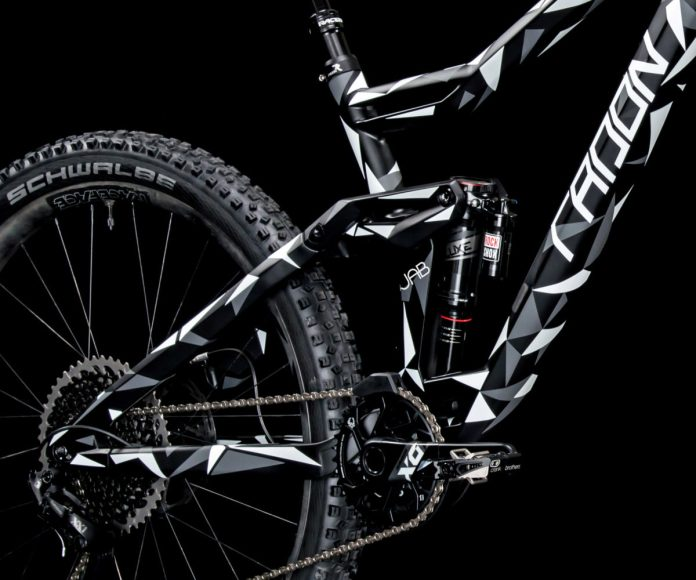 Radon Jab lightweight carbon enduro mountain bike camo teaser angled detail