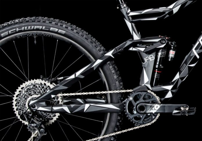 Radon Jab lightweight carbon enduro mountain bike camo teaser suspension detail