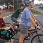 A family shopping trip by bike.
