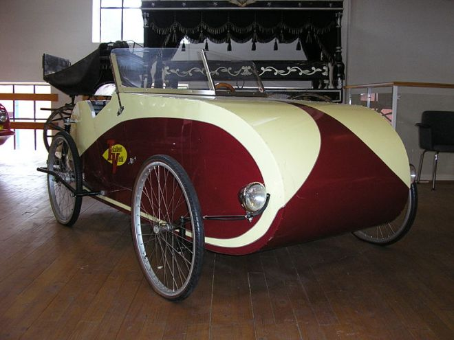 1940's two seat open top Fantom bicycle car.