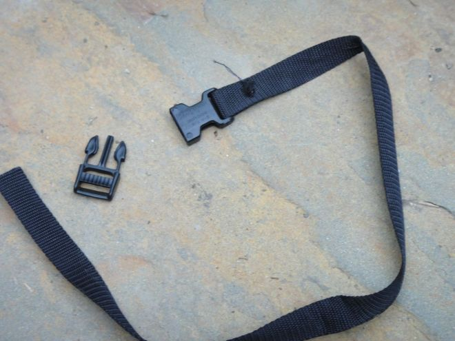 """4. Cut four 20"""" lengths of webbing for the tie-down straps. For each strap, sew one end of the webbing to the female buckle and thread the other end of the webbing into the male buckle. Thread the straps into each grommet hole."""