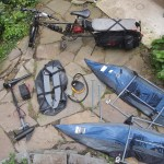Clockwise from top: Xtracycle, pontoon frames, trolling motor and battery, front float, and pump.