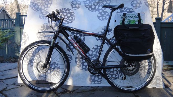 "I bought this high-end mountain bike (code-named ""Black Beauty"") used for $400 with the intention of building it up as a replacement for my Big Dummy. So far I've added a hub motor and perhaps I'll add an Xtracycle longtail extension in the spring."