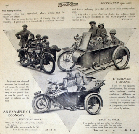 """""""As you can see in the 1920 article pictured above entitled The Family Sidecar, a motorcycle combination could transport as many passengers as a small saloon car."""" Photo from http://oldbike.eu."""